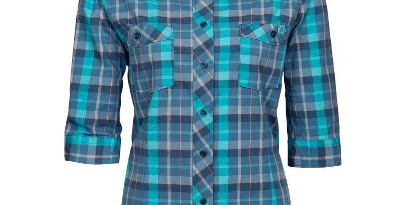 chemise de travail en coton manche 3/4 Pilote et filles bleu