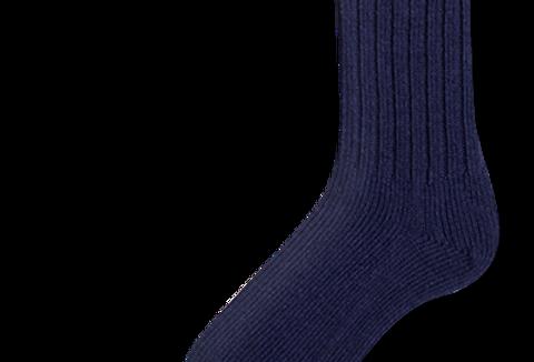 bas travail en laine Duray marine-bleu (2 paires)