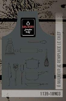 Tablier gris charcoal ô malheur je remplace le chef   1139-18N03
