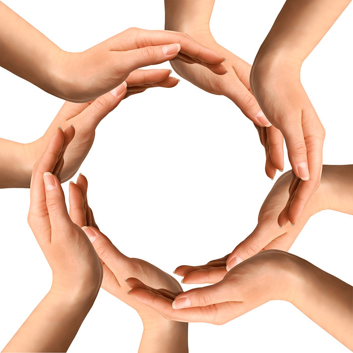 Conceptual symbol of human hands making