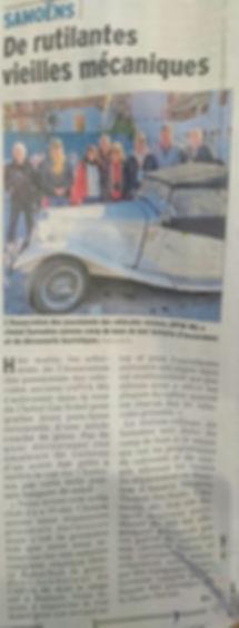 article dauphiné libéré hotel gai soleil samoens accueil club voitures anciennes