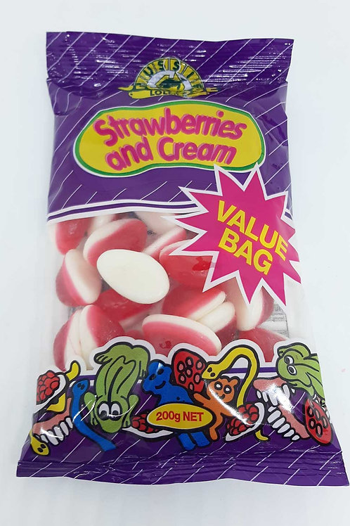Strawberries & Cream Value Bag 200g Bag Candy Sweets Australian Made