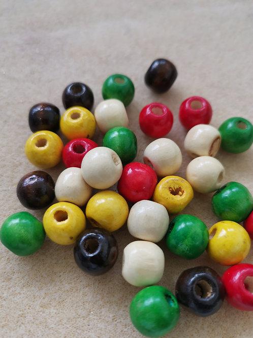 Round Wood Beads Dryed