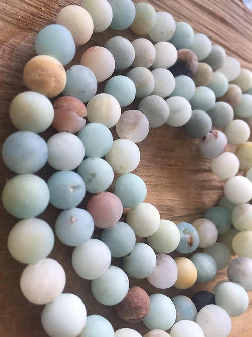 Amazonite Round Frosted Beads