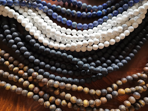 Stone Beads Frosted 8mm. Pick your favourite.