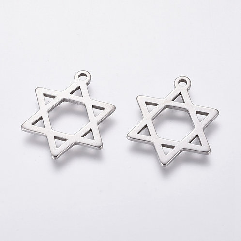 Stainless Steel Star of David Charm