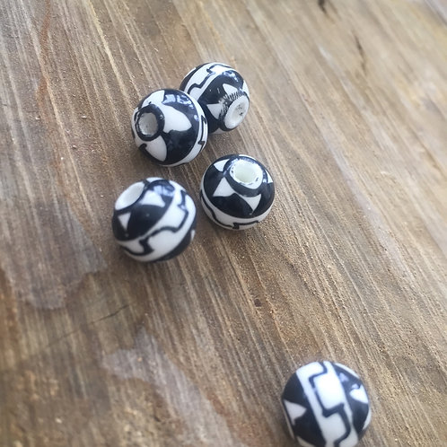 Black + White Handmade Porcelain Beads