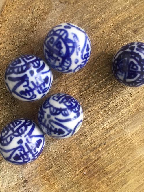 Blue + White Handmade Porcelain Beads