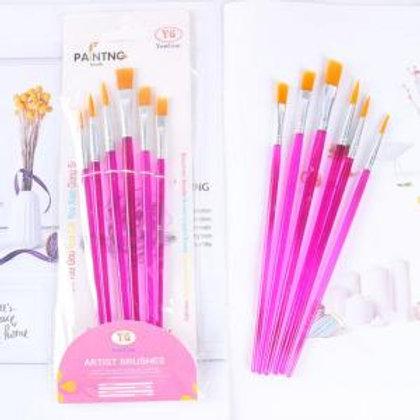 Pink plastic Paint Brush Set