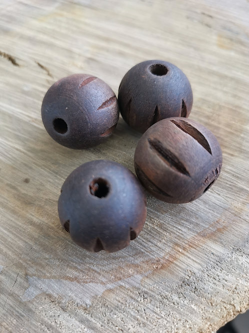 Carved Wood Beads