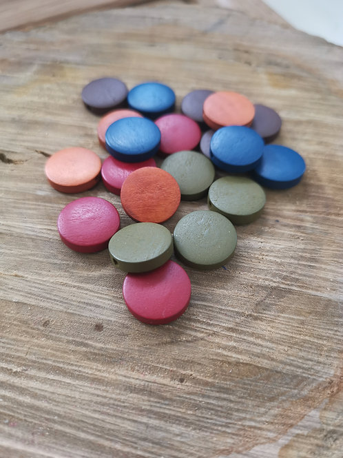 Painted Wood Flat Beads