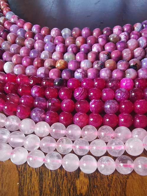 Pink Stones 8mm. Pick your favourite.