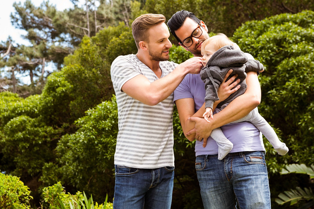 same sex couple with baby, gay men with baby