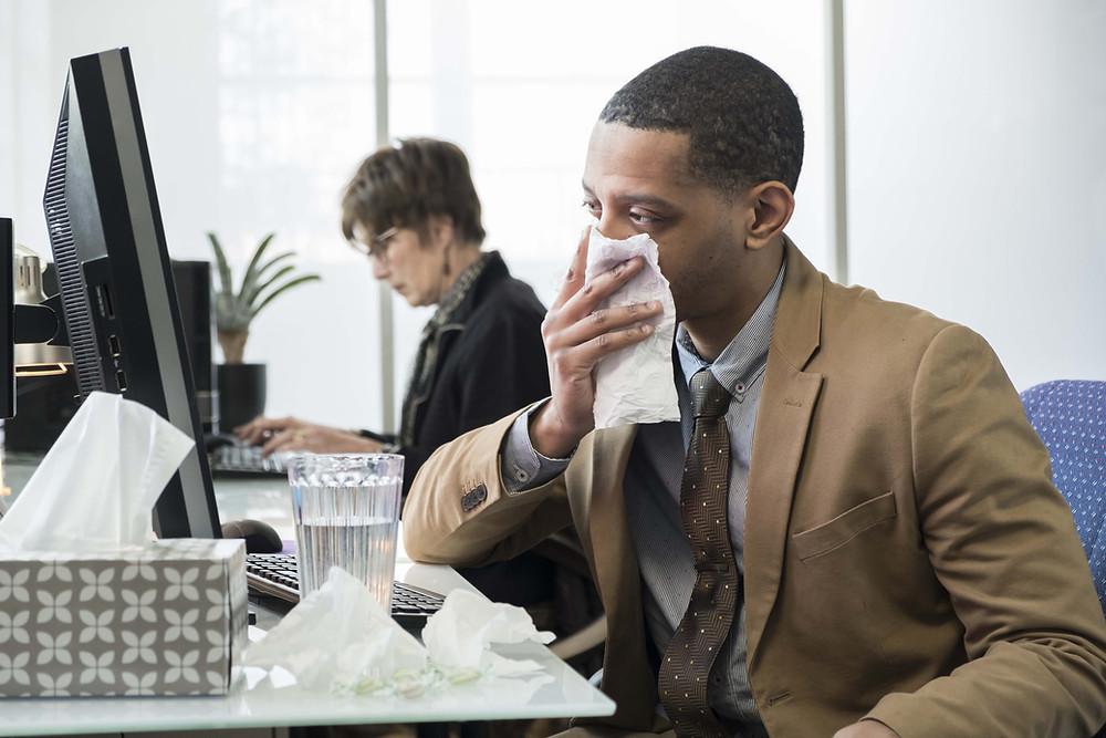 sick office worker
