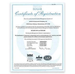 ISO 9001:2015/AS9120B (QMS for mil/aero ECs)