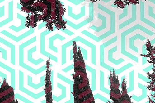 הדפס עצים וצורות גיאומטריות בטורקיז