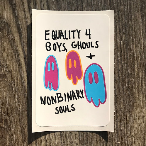 Equality 4 Boys, Ghouls, and Nonbinary Souls vinyl sticker