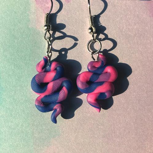 Bi pride squiggle earrings