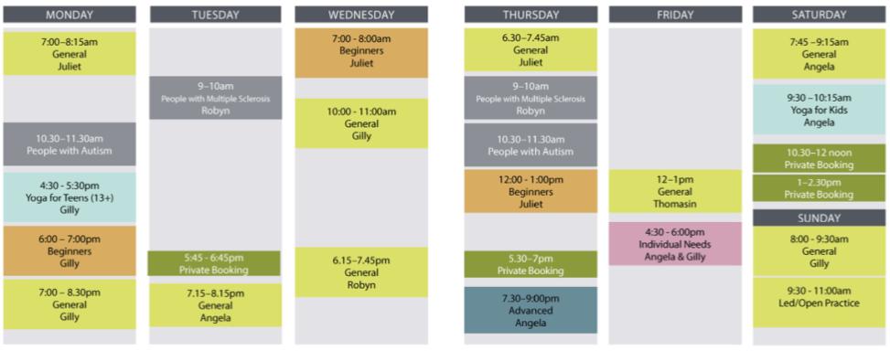 2019 Timetable