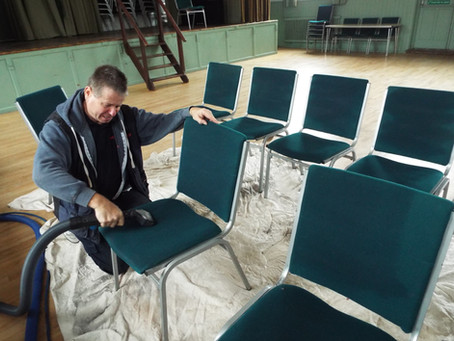 Chair cleaning, office or public hall.