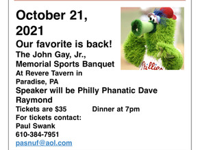 October 21st - Catch the Philly Phanatic at the Revere Tavern