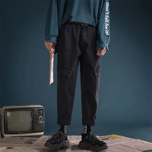 Mid Blue and Black Jeans