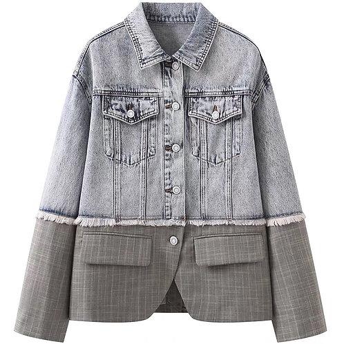 90s Grey & Black Denim Jacket