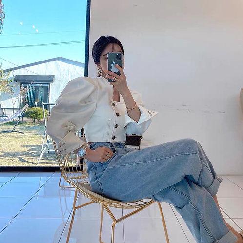Retro Style White Cotton Jacket