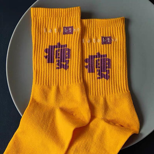 Yellow Socks With Chinese Character