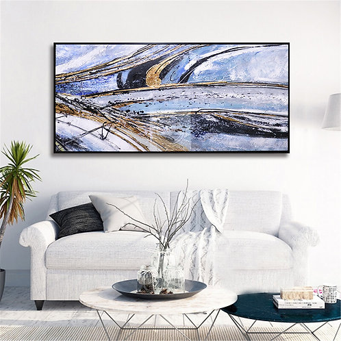 Lighting Abstract Oil Hand Painted Canvas Framed Artwork