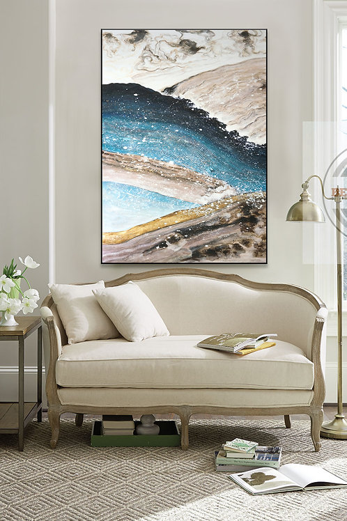 Hand-Painted Framed Canvas Wall Art- Water On Sky