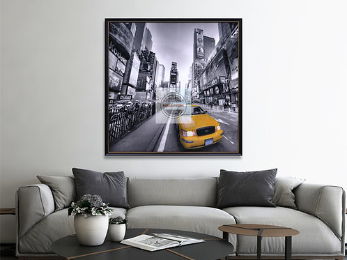 New York Yellow Cab Wall Art- Glass Framed