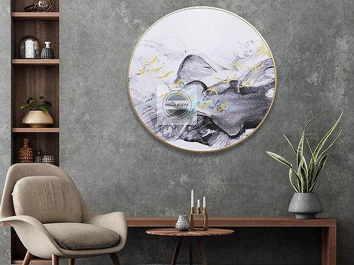 Dawn Round Framed Canvas Wall Art