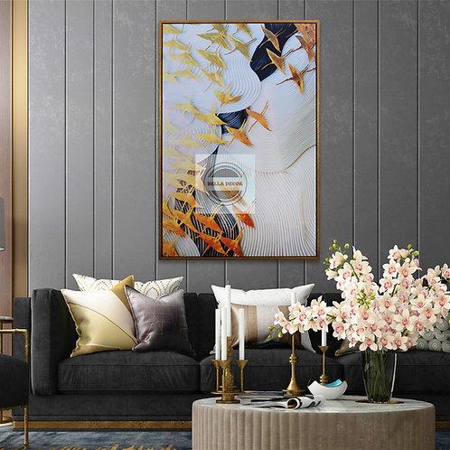 Sunset Crane Framed Canvas Wall Art
