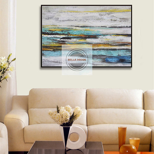 Handmade Abstract Oil Painting At The Shore Wall Art