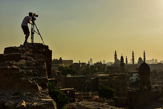 Filming in Cairo, Egypt at sunset for Walking the Nile