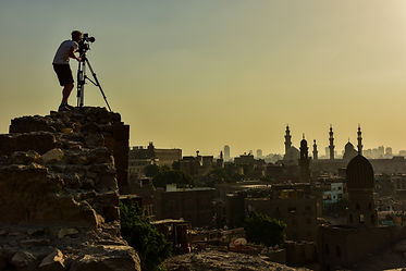 Filming at sunset in Cairo, Egypt for Walking the Nile