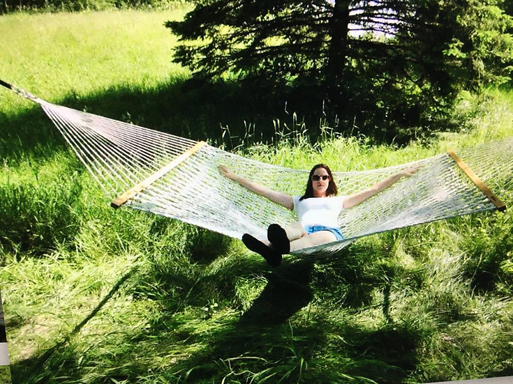Double Cotton Rope Hammock w/ spreader bars