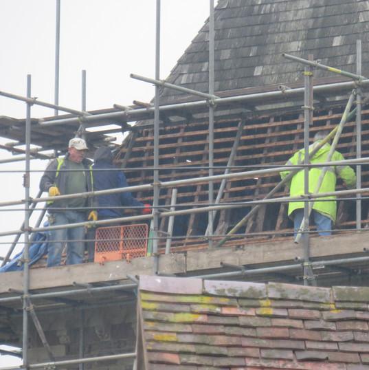Workmen on Stoke Lacy Church