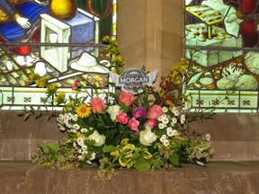 Morgan floral arrangement by the village's Flower Fairies