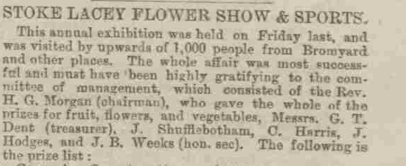 Stoke Lacey Flower Show and Sports 1887