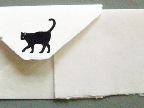 Hand made paper cat stationary