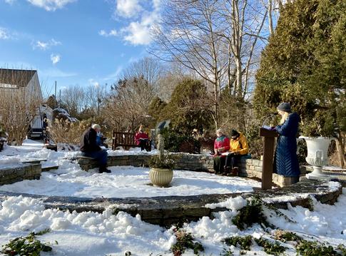 Creation Worship Service in snowy Memorial Garden