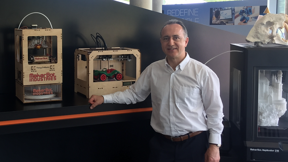 The first models of American 3D printers MakerBot with plywood case, 2009. In the European office of Stratasys company, Germany, Baden-Baden, 06.2017.