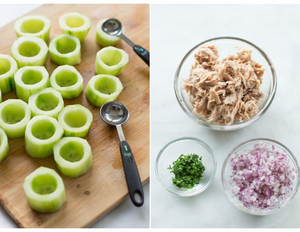 Preparing Tuna Cucumber cups with bowls of ingredients