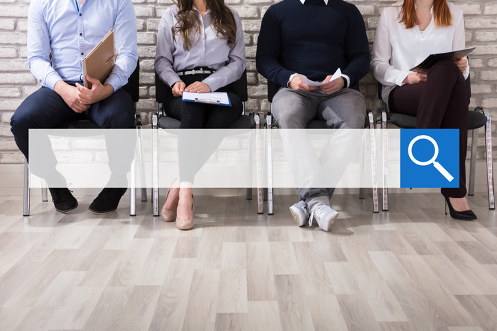 Business professional people sitting with a search engine bar overlay