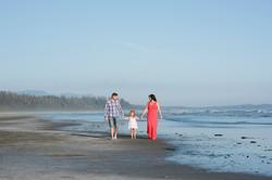family on beach in Tofino
