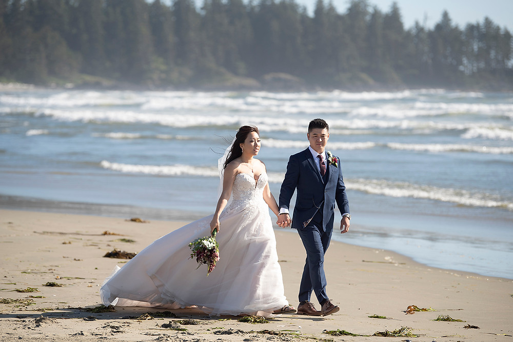 Newly married couple at their Ucluelet wedding at Black Rock Resort. Photographed by Ucluelet Photographer Kaitlyn Shea.