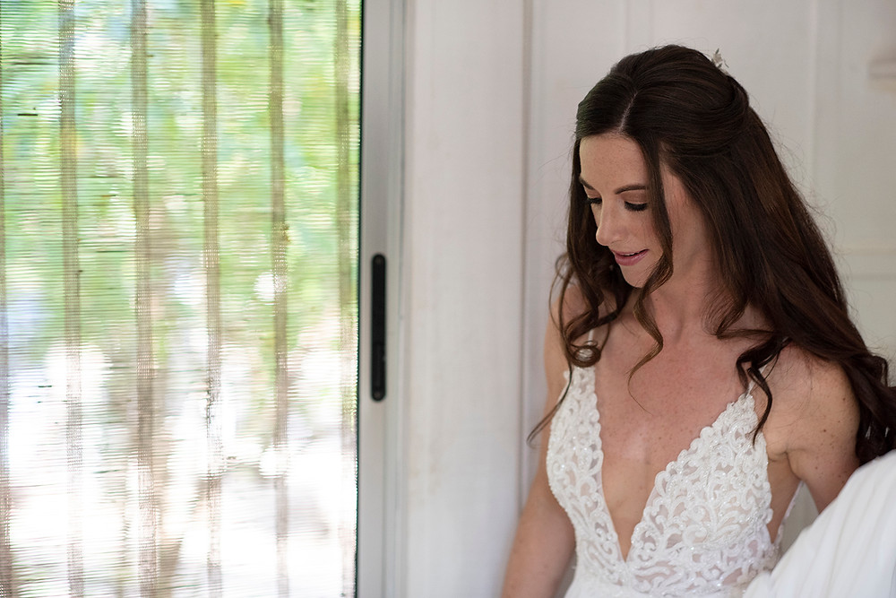 Bride gets ready for her destination wedding in Playa Grande, Costa Rica. Photographed by Kaitlyn Shea.