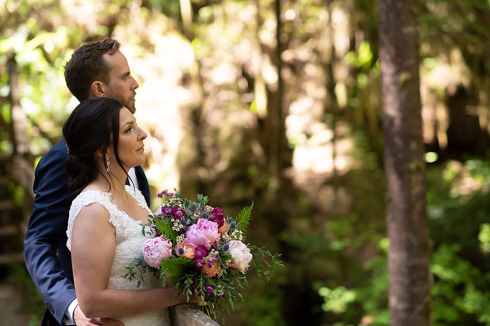 Forest wedding in Tofino. Photographed by Kaitlyn Shea.